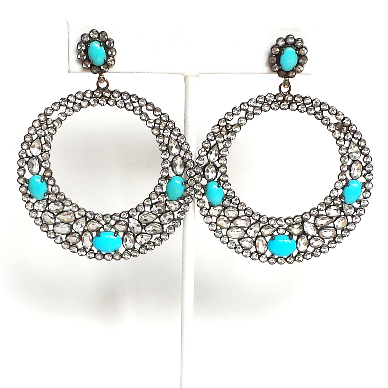 Turquoise And Silver Circle Earrings